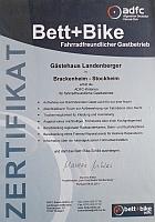 Zertifikat Bett und Bike